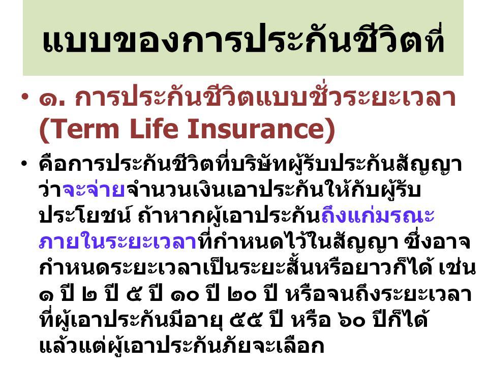 แบบของการประกันชีวิต ที่ ๑. การประกันชีวิตแบบชั่วระยะเวลา (Term Life Insurance) คือการประกันชีวิตที่บริษัทผู้รับประกันสัญญา ว่าจะจ่ายจำนวนเงินเอาประกั