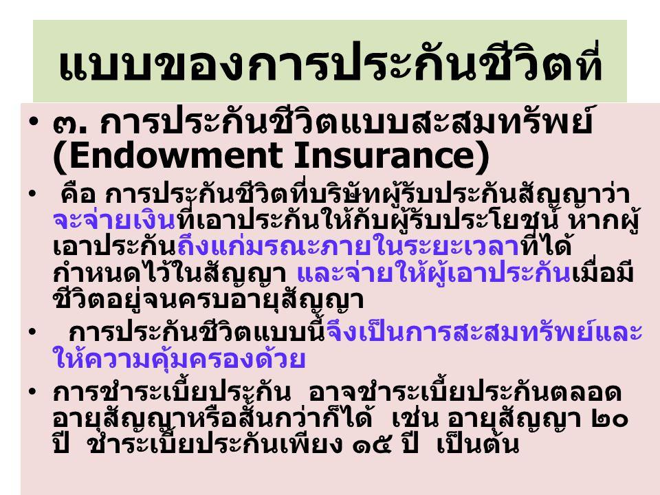 แบบของการประกันชีวิต ที่ ๓. การประกันชีวิตแบบสะสมทรัพย์ (Endowment Insurance) คือ การประกันชีวิตที่บริษัทผู้รับประกันสัญญาว่า จะจ่ายเงินที่เอาประกันให