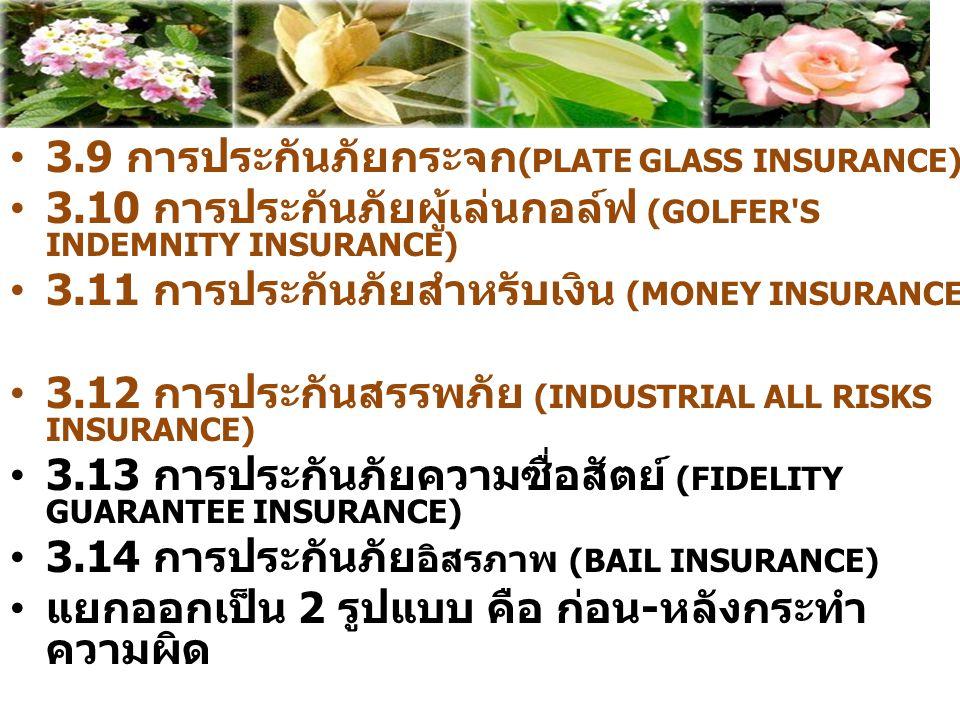 3.9 การประกันภัยกระจก (PLATE GLASS INSURANCE) 3.10 การประกันภัยผู้เล่นกอล์ฟ (GOLFER'S INDEMNITY INSURANCE) 3.11 การประกันภัยสำหรับเงิน (MONEY INSURANC