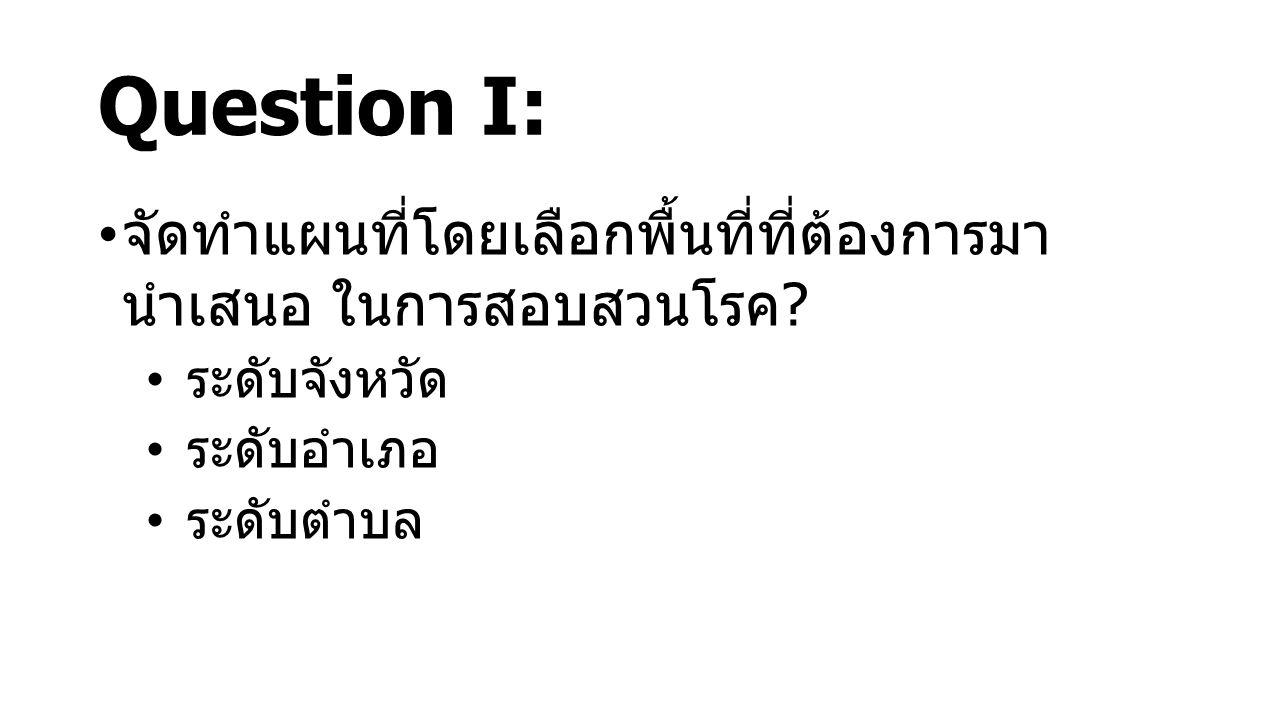 Question I: จัดทำแผนที่โดยเลือกพื้นที่ที่ต้องการมา นำเสนอ ในการสอบสวนโรค ? ระดับจังหวัด ระดับอำเภอ ระดับตำบล