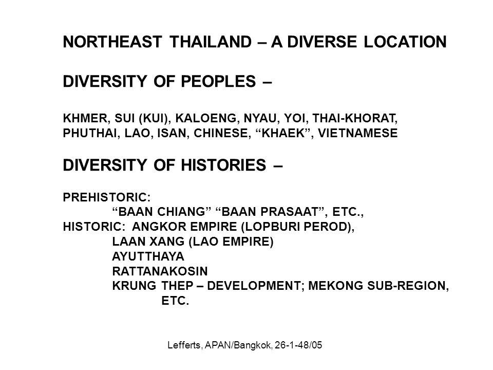 Lefferts, APAN/Bangkok, 26-1-48/05 NORTHEAST THAILAND – A DIVERSE LOCATION DIVERSITY OF PEOPLES – KHMER, SUI (KUI), KALOENG, NYAU, YOI, THAI-KHORAT, P