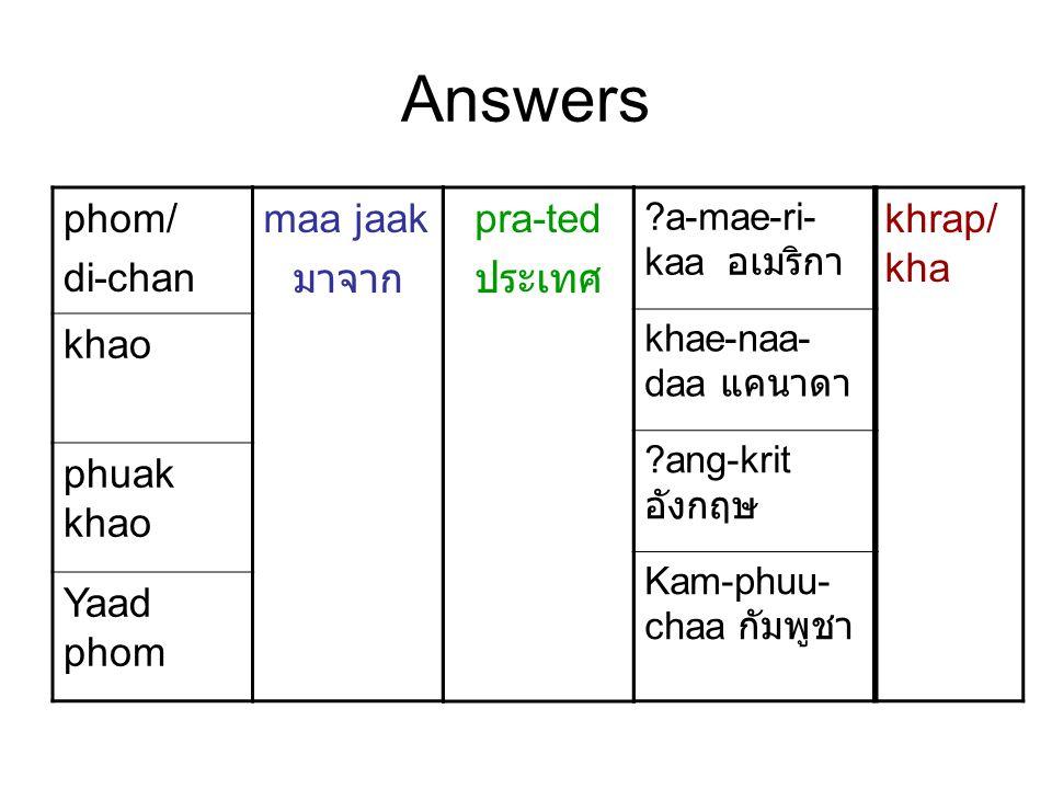 Answers phom/ di-chan khao phuak khao Yaad phom pra-ted ประเทศ maa jaak มาจาก ?a-mae-ri- kaa อเมริกา khae-naa- daa แคนาดา ?ang-krit อังกฤษ Kam-phuu- c
