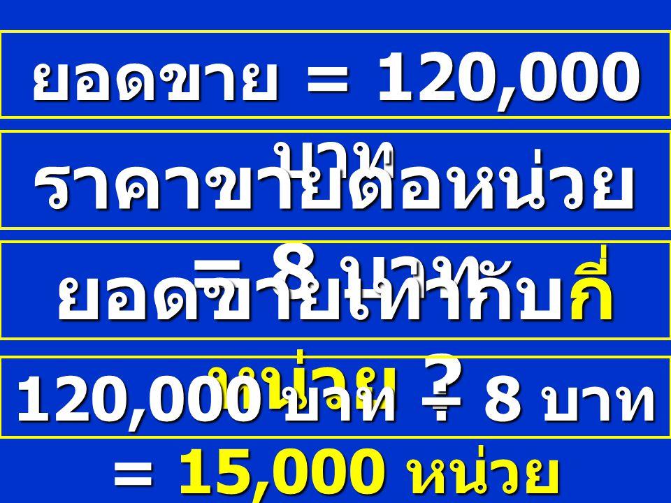 ยอดขาย = 120,000 บาท ราคาขายต่อหน่วย = 8 บาท ยอดขายเท่ากับกี่ หน่วย ? 120,000 บาท ÷ 8 บาท = 15,000 หน่วย