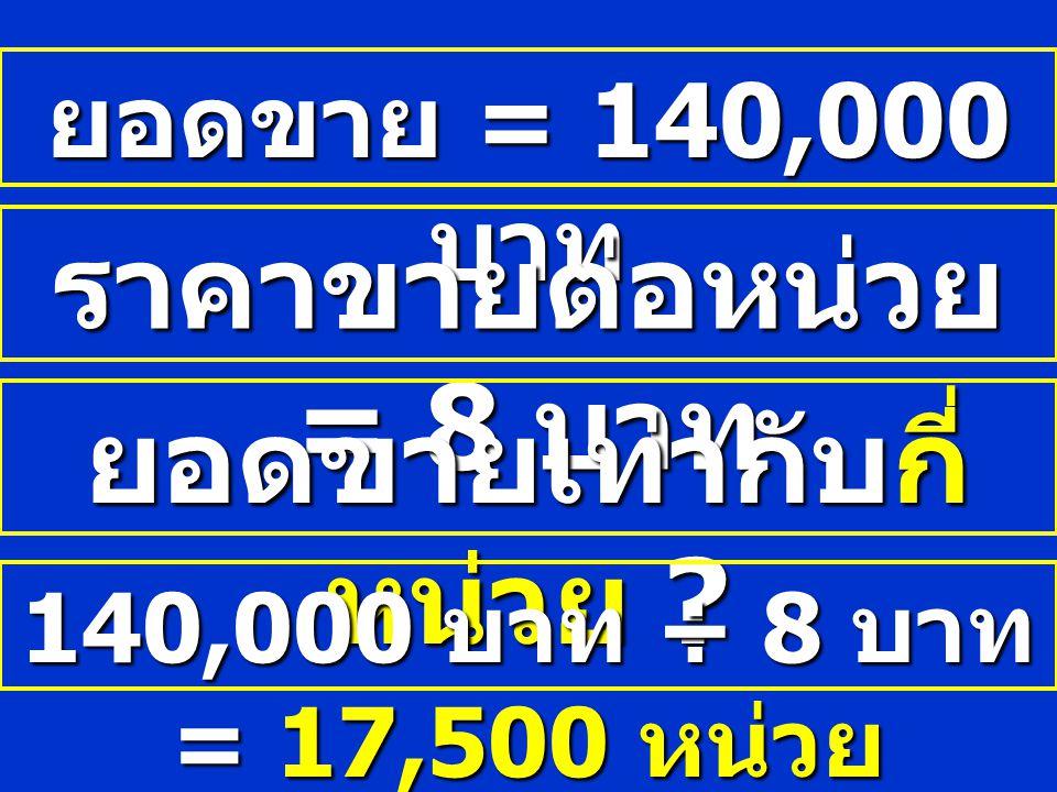 ยอดขาย = 140,000 บาท ราคาขายต่อหน่วย = 8 บาท ยอดขายเท่ากับกี่ หน่วย ? 140,000 บาท ÷ 8 บาท = 17,500 หน่วย