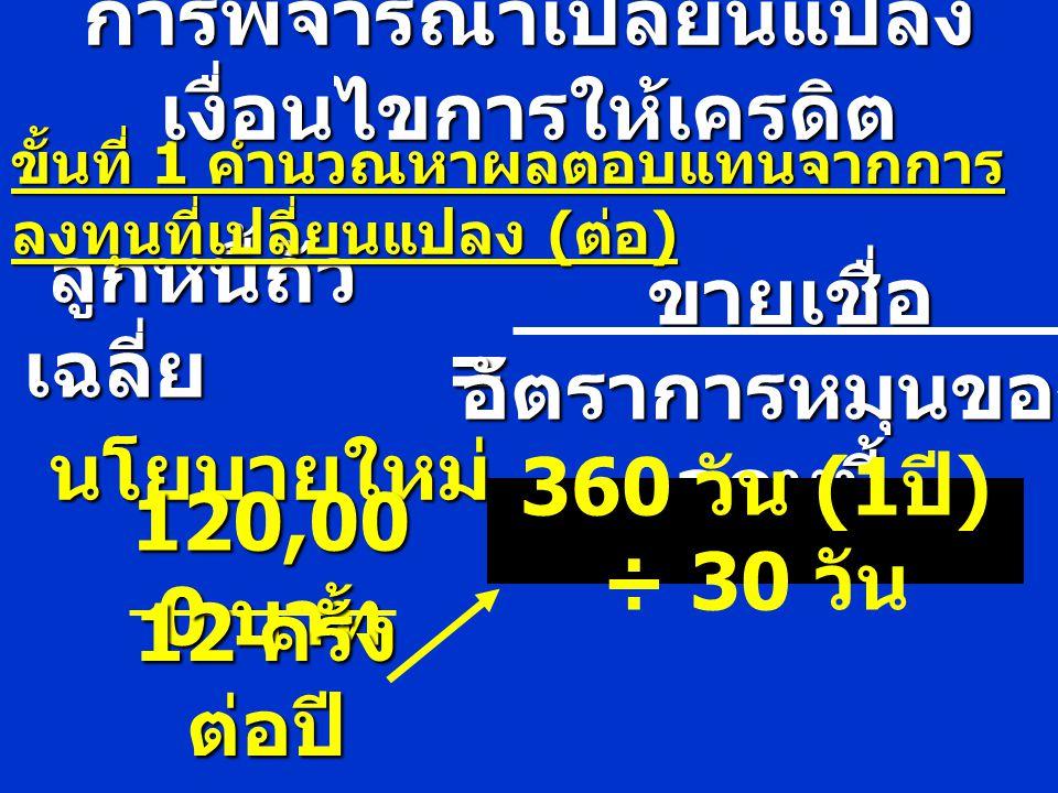 ขั้นที่ 2 คำนวณหารายจ่าย ( ส่วนลด จ่าย ) การพิจารณาเปลี่ยนแปลง เงื่อนไขการให้เครดิต ส่วนลดจ่าย = ยอดลูกหนี้ที่ชำระ X อัตราส่วนลด = (120,000 X 60%) = 72,000 = 1,440 บาท X 2%