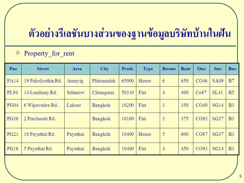 59 Relational Calculus  Tuple-oriented relational calculus ตัวอย่าง แสดงชื่อ และหมายเหตุของผู้เช่าที่เข้ามาดูบ้านเช่าใน Bangkok