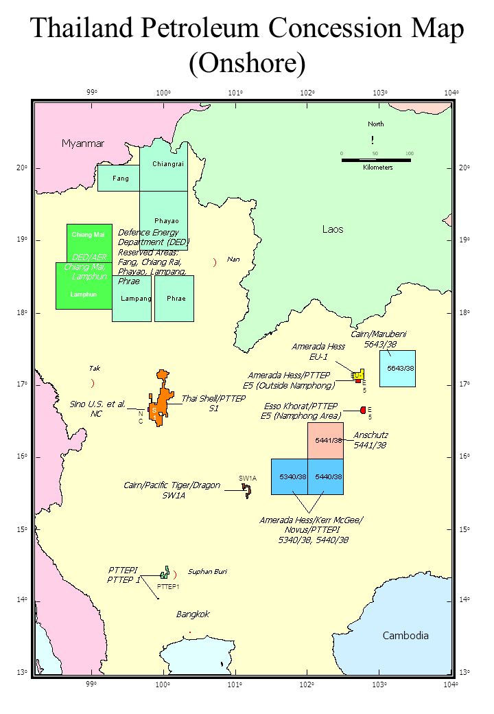 Thailand Petroleum Concession Map (Onshore) 20 o 19 o 18 o 17 o 16 o 15 o 14 o 13 o 99 o 100 o 101 o 102 o 103 o 104 o 20 o 19 o 18 o 17 o 16 o 15 o 14 o 13 o 99 o 100 o 101 o 102 o 103 o 104 o Chiang Mai Lamphun PTTEP1 SW1A EU-1 E5E5 E5E5 NCNC S1S1 Cambodia