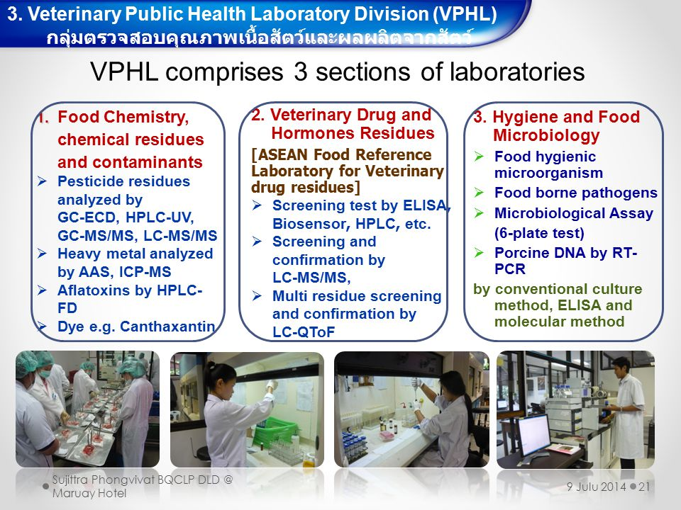 21 3. Hygiene and Food Microbiology  Food hygienic microorganism  Food borne pathogens  Microbiological Assay (6-plate test)  Porcine DNA by RT- P