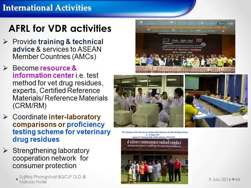 44 AFRL for VDR activities  Provide training & technical advice & services to ASEAN Member Countries (AMCs)  Become resource & information center i.e.