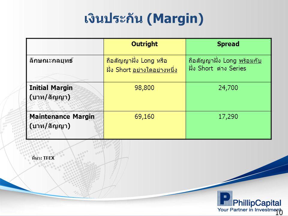 10 เงินประกัน (Margin) OutrightSpread ลักษณะกลยุทธ์ถือสัญญาฝั่ง Long หรือ ฝั่ง Short อย่างใดอย่างหนึ่ง ถือสัญญาฝั่ง Long พร้อมกับ ฝั่ง Short ต่าง Series Initial Margin (บาท/สัญญา) 98,80024,700 Maintenance Margin (บาท/สัญญา) 69,16017,290 ที่มา: TFEX