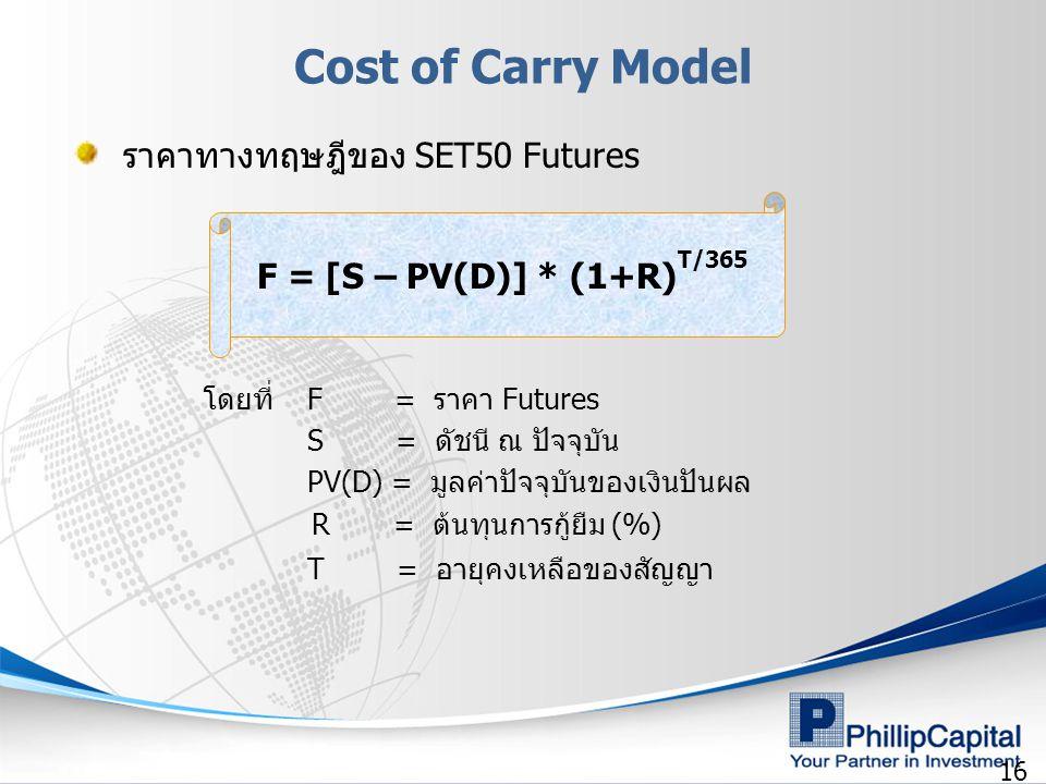 16 โดยที่ F = ราคา Futures S = ดัชนี ณ ปัจจุบัน PV(D) = มูลค่าปัจจุบันของเงินปันผล R = ต้นทุนการกู้ยืม (%) T = อายุคงเหลือของสัญญา F = [S – PV(D)] * (1+R) T/365 ราคาทางทฤษฎีของ SET50 Futures Cost of Carry Model