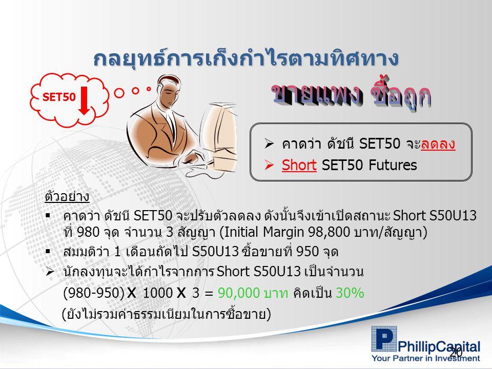 20 SET50  คาดว่า ดัชนี SET50 จะลดลง  Short SET50 Futures กลยุทธ์การเก็งกำไรตามทิศทาง ตัวอย่าง  คาดว่า ดัชนี SET50 จะปรับตัวลดลง ดังนั้นจึงเข้าเปิดสถานะ Short S50U13 ที่ 980 จุด จำนวน 3 สัญญา (Initial Margin 98,800 บาท/สัญญา)  สมมติว่า 1 เดือนถัดไป S50U13 ซื้อขายที่ 950 จุด  นักลงทุนจะได้กำไรจากการ Short S50U13 เป็นจำนวน (980-950) x 1000 x 3 = 90,000 บาท คิดเป็น 30% (ยังไม่รวมค่าธรรมเนียมในการซื้อขาย)