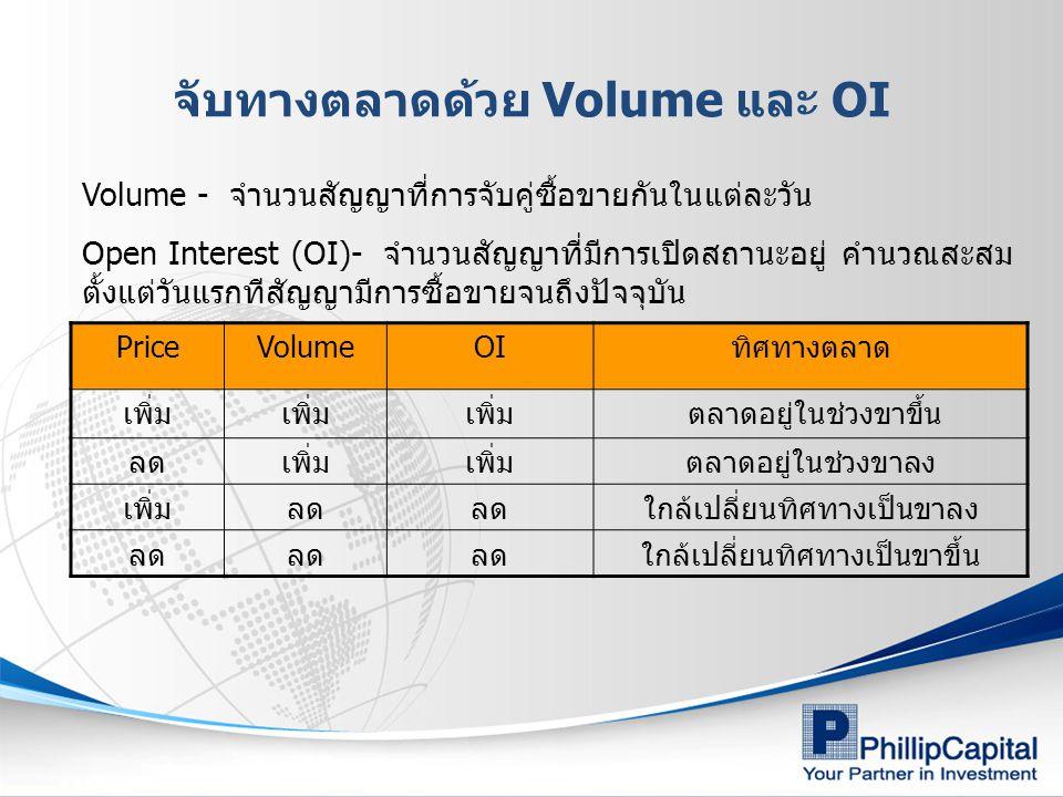 จับทางตลาดด้วย Volume และ OI PriceVolumeOIทิศทางตลาด เพิ่ม ตลาดอยู่ในช่วงขาขึ้น ลดเพิ่ม ตลาดอยู่ในช่วงขาลง เพิ่มลด ใกล้เปลี่ยนทิศทางเป็นขาลง ลด ใกล้เปลี่ยนทิศทางเป็นขาขึ้น Volume - จำนวนสัญญาที่การจับคู่ซื้อขายกันในแต่ละวัน Open Interest (OI)- จำนวนสัญญาที่มีการเปิดสถานะอยู่ คำนวณสะสม ตั้งแต่วันแรกทีสัญญามีการซื้อขายจนถึงปัจจุบัน