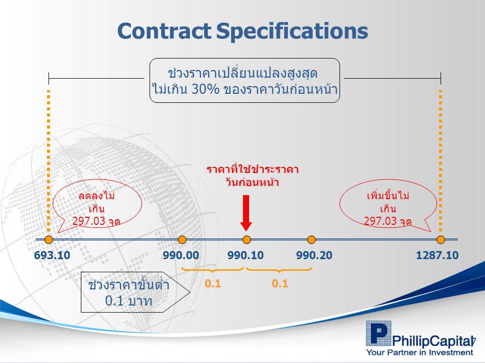 7 Contract Specifications 990.00990.20990.10 0.1 ช่วงราคาขั้นต่ำ 0.1 บาท ช่วงราคาเปลี่ยนแปลงสูงสุด ไม่เกิน 30% ของราคาวันก่อนหน้า ราคาที่ใช้ชำระราคา ว
