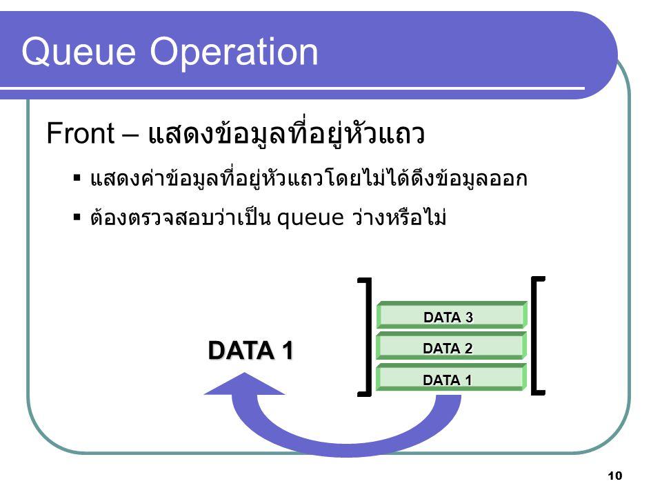 10 Queue Operation Front – แสดงข้อมูลที่อยู่หัวแถว  แสดงค่าข้อมูลที่อยู่หัวแถวโดยไม่ได้ดึงข้อมูลออก  ต้องตรวจสอบว่าเป็น queue ว่างหรือไม่ DATA 1 DAT