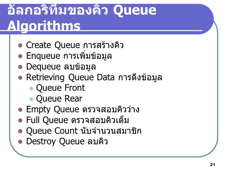 21 อัลกอริทึมของคิว Queue Algorithms Create Queue การสร้างคิว Enqueue การเพิ่มข้อมูล Dequeue ลบข้อมูล Retrieving Queue Data การดึงข้อมูล Queue Front Q