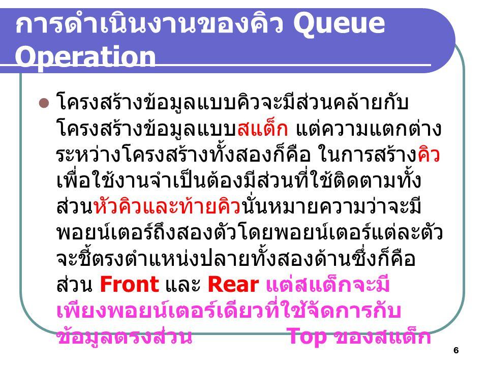 7 ฟังก์ชันการดำเนินงานพื้นฐาน ของคิว 1.Enqueue ( ใส่หรือเพิ่ม ใน ตำแหน่งของ Rear)Enqueue ( ใส่หรือเพิ่ม ใน ตำแหน่งของ Rear) 2.Dequeue( การลบ ที่ตำแหน่ง Font) 3.Queue Front ( การขอดูข้อมูลใน คิว ) 4.