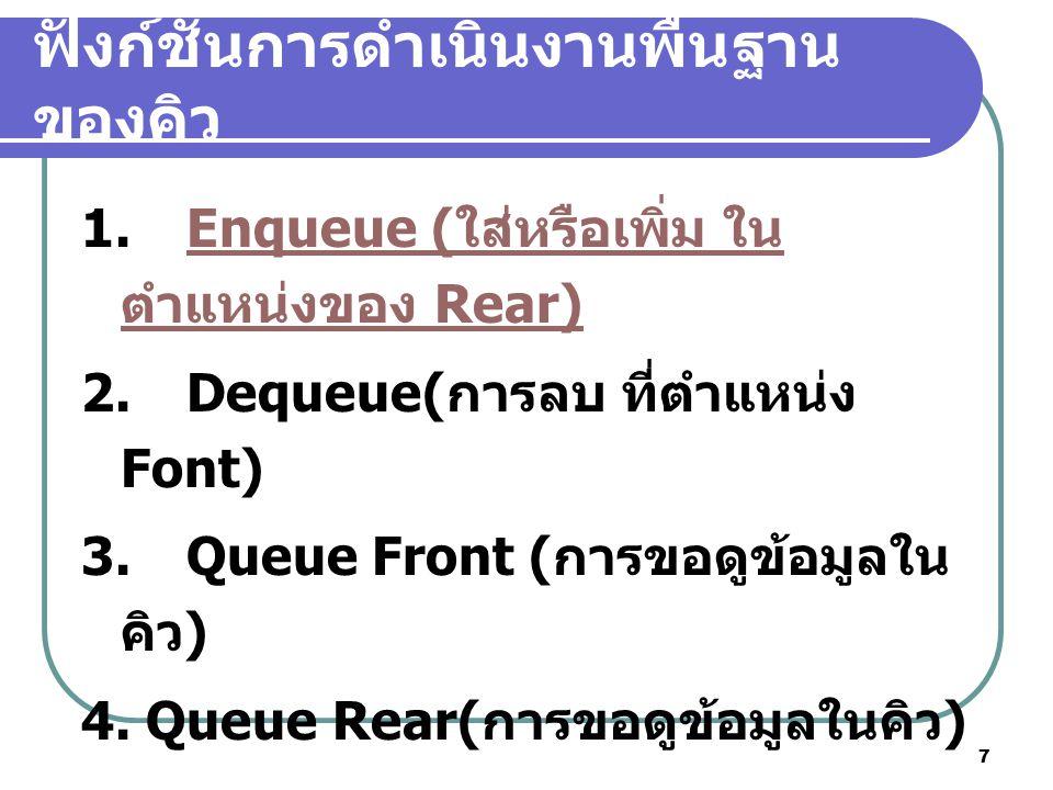 7 ฟังก์ชันการดำเนินงานพื้นฐาน ของคิว 1.Enqueue ( ใส่หรือเพิ่ม ใน ตำแหน่งของ Rear)Enqueue ( ใส่หรือเพิ่ม ใน ตำแหน่งของ Rear) 2.Dequeue( การลบ ที่ตำแหน่
