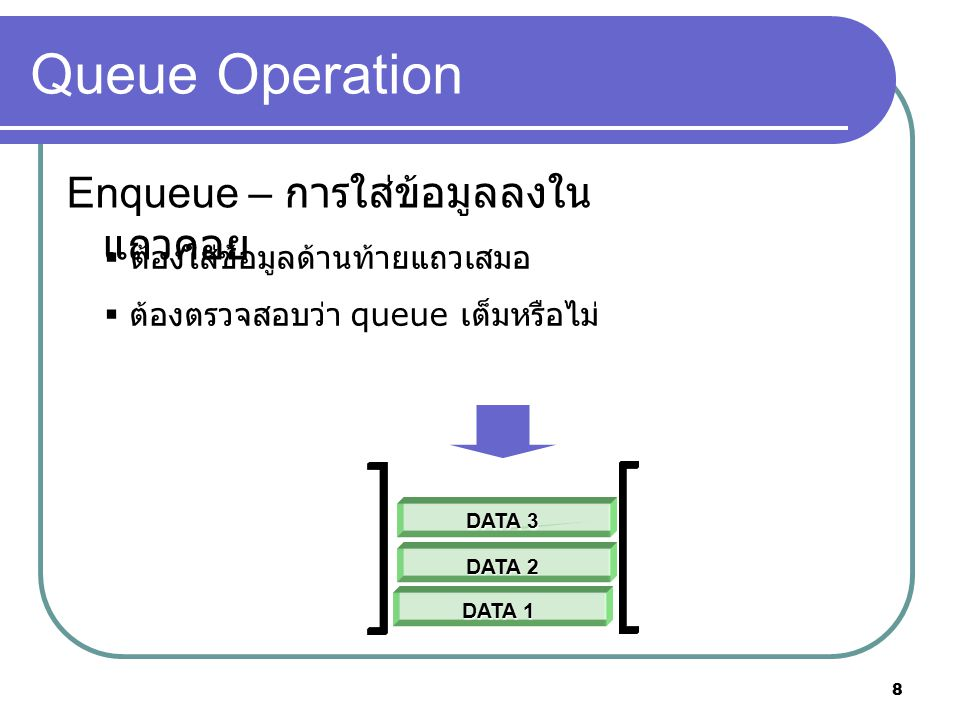8 Queue Operation Enqueue – การใส่ข้อมูลลงใน แถวคอย  ต้องใส่ข้อมูลด้านท้ายแถวเสมอ  ต้องตรวจสอบว่า queue เต็มหรือไม่ DATA 1 DATA 2 DATA 3
