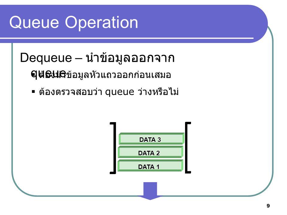 9 Queue Operation Dequeue – นำข้อมูลออกจาก queue  ต้องนำข้อมูลหัวแถวออกก่อนเสมอ  ต้องตรวจสอบว่า queue ว่างหรือไม่ DATA 1 DATA 2 DATA 3