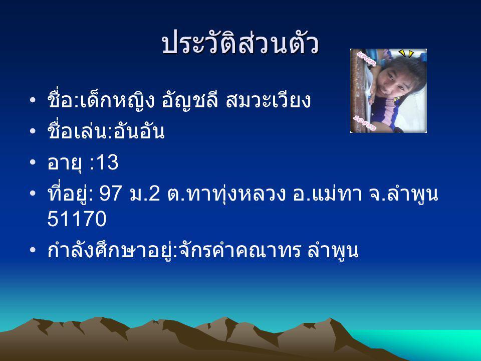 ประวัติส่วนตัว ชื่อ : เด็กหญิง อัญชลี สมวะเวียง ชื่อเล่น : อันอัน อายุ :13 ที่อยู่ : 97 ม.2 ต. ทาทุ่งหลวง อ. แม่ทา จ. ลำพูน 51170 กำลังศึกษาอยู่ : จัก