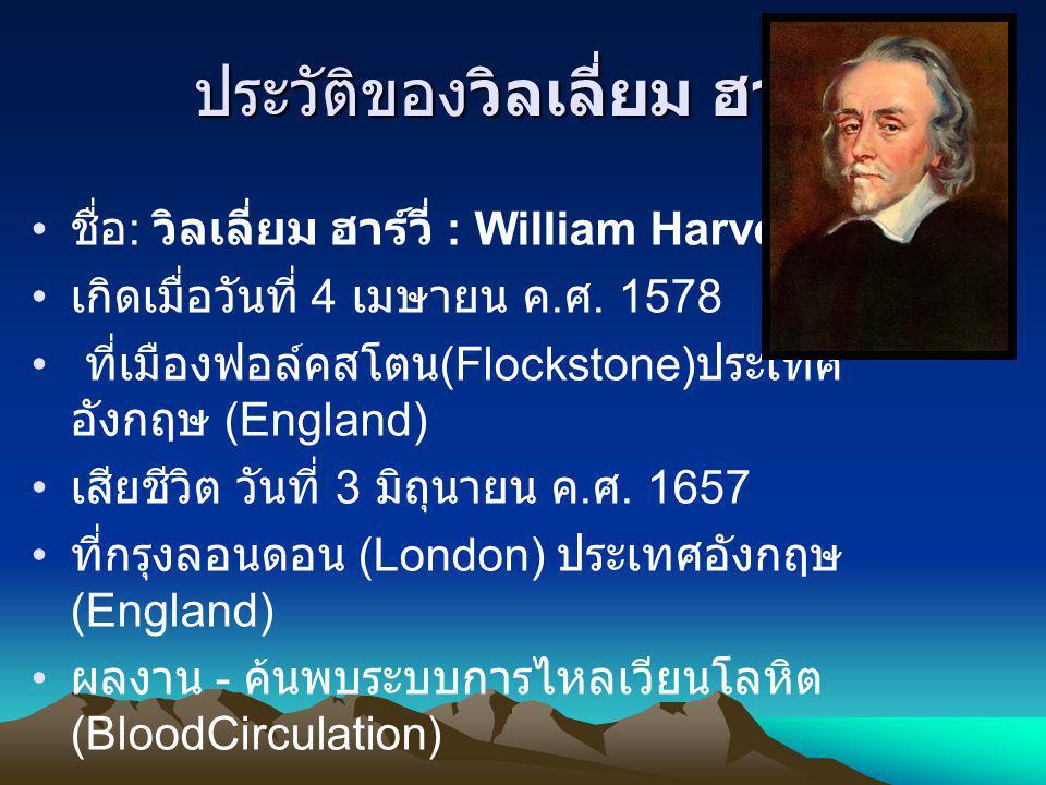 ประวัติของวิลเลี่ยม ฮาร์วี่ ชื่อ : วิลเลี่ยม ฮาร์วี่ : William Harvey เกิดเมื่อวันที่ 4 เมษายน ค. ศ. 1578 ที่เมืองฟอล์คสโตน (Flockstone) ประเทศ อังกฤษ