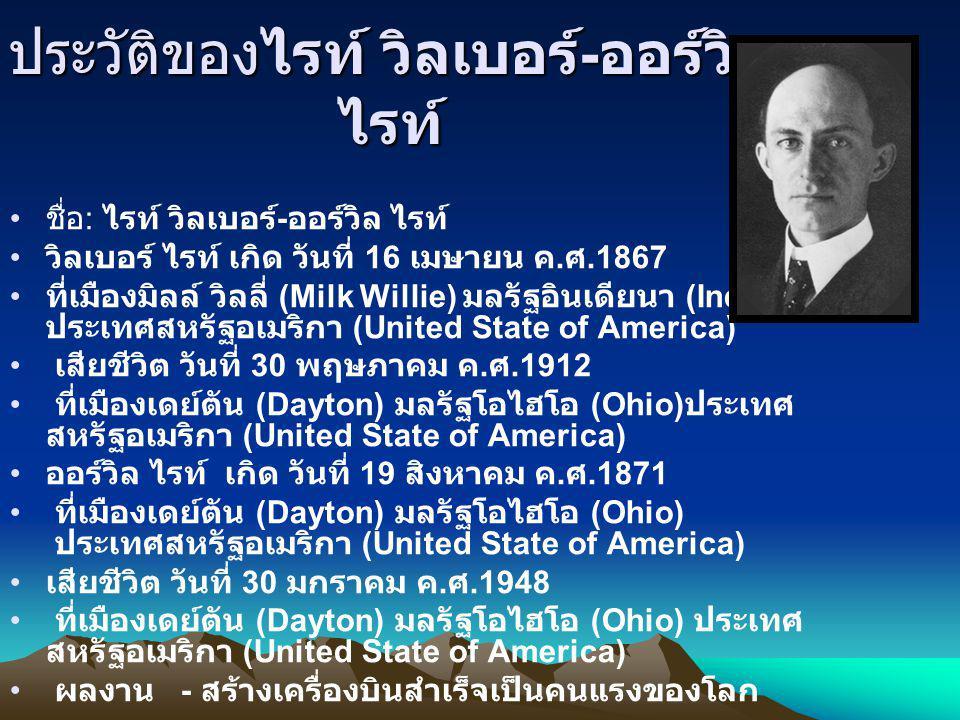 ประวัติของไรท์ วิลเบอร์ - ออร์วิล ไรท์ ชื่อ : ไรท์ วิลเบอร์ - ออร์วิล ไรท์ วิลเบอร์ ไรท์ เกิด วันที่ 16 เมษายน ค. ศ.1867 ที่เมืองมิลล์ วิลลี่ (Milk Wi