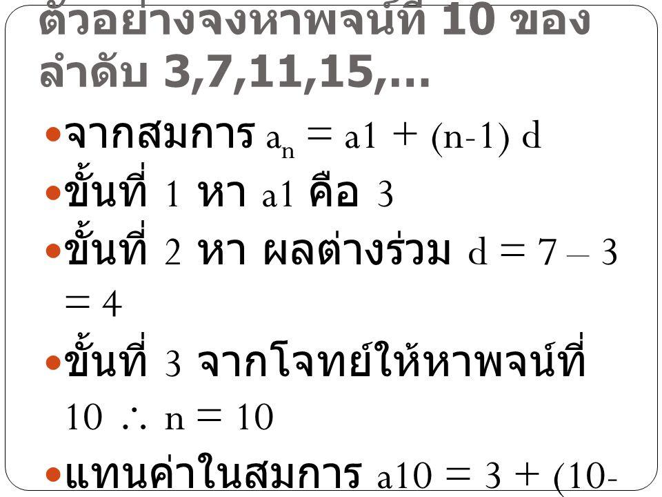 ตัวอย่างจงหาพจน์ที่ 10 ของ ลำดับ 3,7,11,15,… จากสมการ a n = a1 + (n-1) d ขั้นที่ 1 หา a1 คือ 3 ขั้นที่ 2 หา ผลต่างร่วม d = 7 – 3 = 4 ขั้นที่ 3 จากโจทย