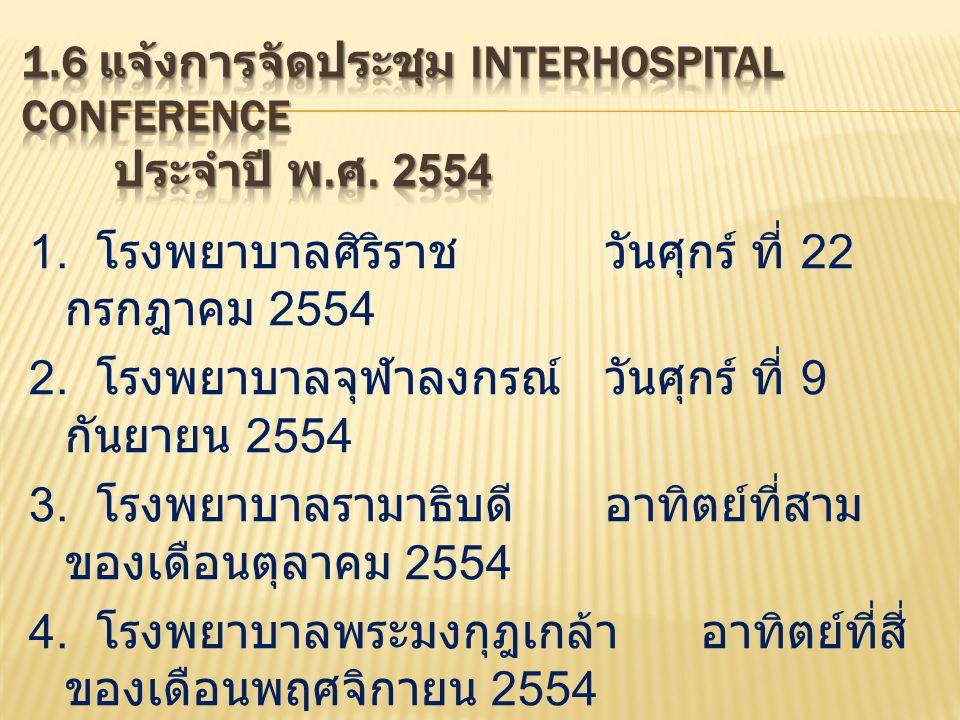 1.โรงพยาบาลศิริราชวันศุกร์ ที่ 22 กรกฎาคม 2554 2.