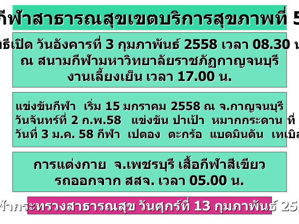 กีฬาสาธารณสุขเขตบริการสุขภาพที่ 5 พิธีเปิด วันอังคารที่ 3 กุมภาพันธ์ 2558 เวลา 08.30 น.
