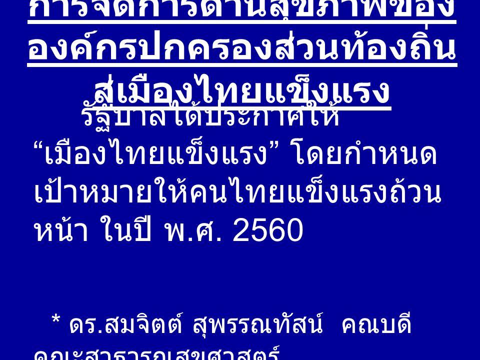 การจัดการด้านสุขภาพของ องค์กรปกครองส่วนท้องถิ่น สู่เมืองไทยแข็งแรง รัฐบาลได้ประกาศให้ เมืองไทยแข็งแรง โดยกำหนด เป้าหมายให้คนไทยแข็งแรงถ้วน หน้า ในปี พ.
