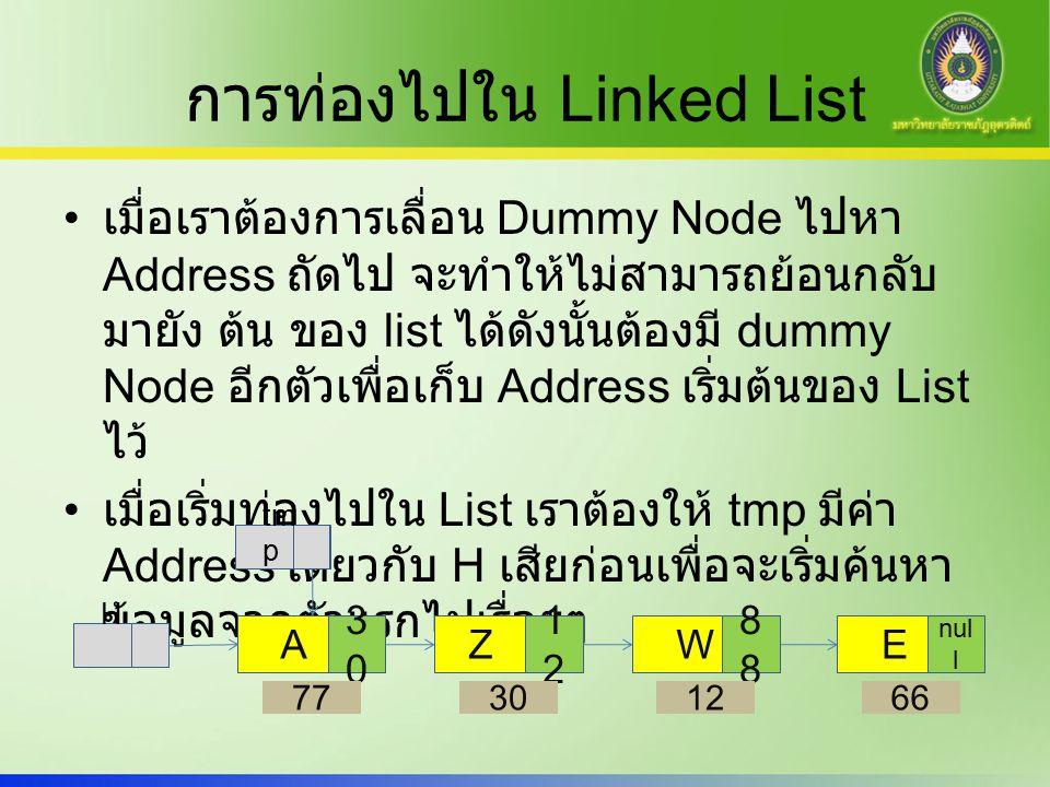 การท่องไปใน Linked List เมื่อเราต้องการเลื่อน Dummy Node ไปหา Address ถัดไป จะทำให้ไม่สามารถย้อนกลับ มายัง ต้น ของ list ได้ดังนั้นต้องมี dummy Node อีกตัวเพื่อเก็บ Address เริ่มต้นของ List ไว้ เมื่อเริ่มท่องไปใน List เราต้องให้ tmp มีค่า Address เดียวกับ H เสียก่อนเพื่อจะเริ่มค้นหา ข้อมูลจากตัวแรกไปเรื่อยๆ A 3030 77 Z 1212 30 W8 12 E nul l 66 H tm p