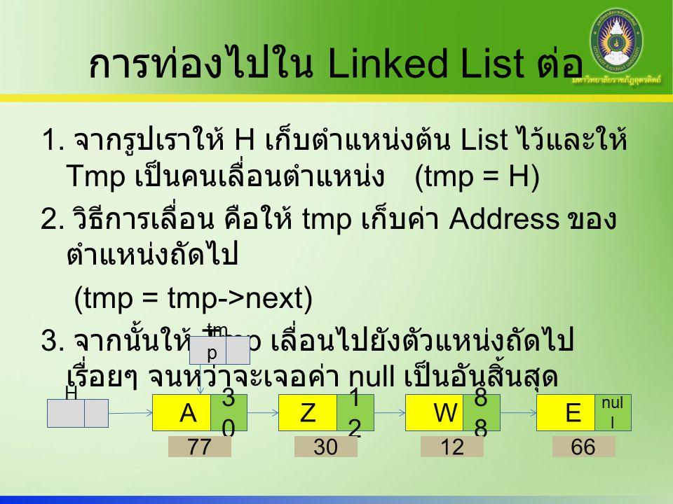 การท่องไปใน Linked List ต่อ 1.
