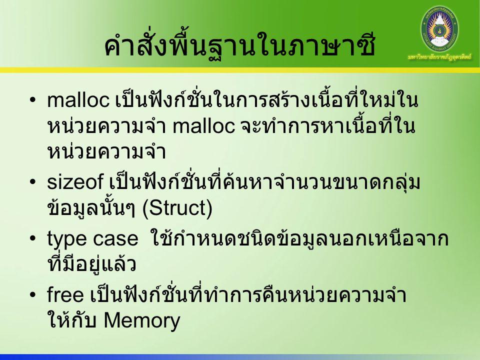 คำสั่งพื้นฐานในภาษาซี malloc เป็นฟังก์ชั่นในการสร้างเนื้อที่ใหม่ใน หน่วยความจำ malloc จะทำการหาเนื้อที่ใน หน่วยความจำ sizeof เป็นฟังก์ชั่นที่ค้นหาจำนวนขนาดกลุ่ม ข้อมูลนั้นๆ (Struct) type case ใช้กำหนดชนิดข้อมูลนอกเหนือจาก ที่มีอยู่แล้ว free เป็นฟังก์ชั่นที่ทำการคืนหน่วยความจำ ให้กับ Memory