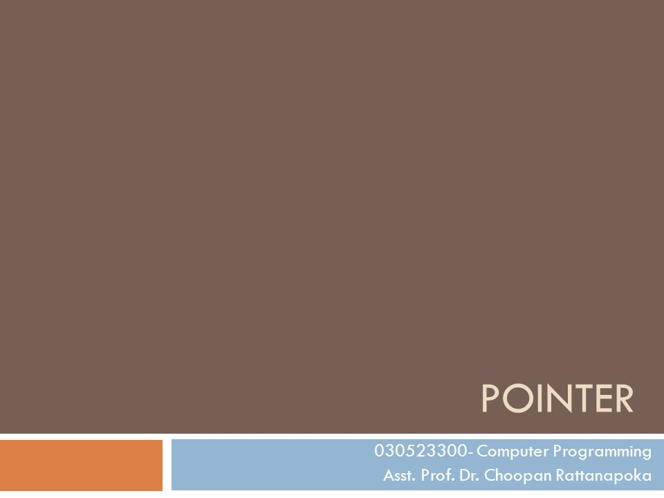 POINTER 030523300- Computer Programming Asst. Prof. Dr. Choopan Rattanapoka