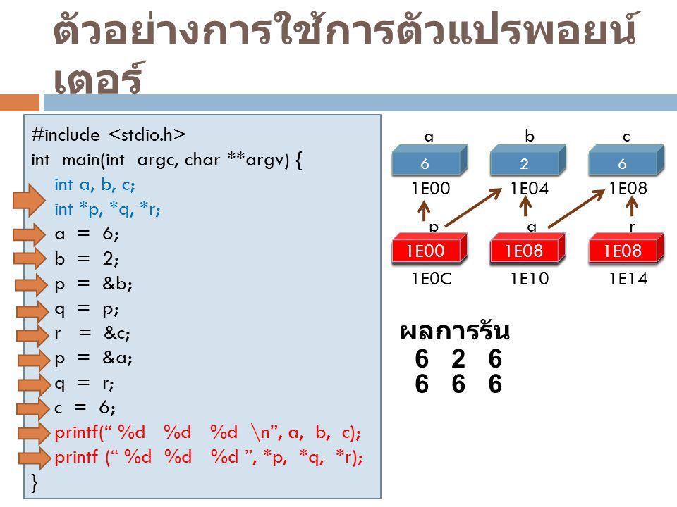 ตัวอย่างการใช้การตัวแปรพอยน์ เตอร์ #include int main(int argc, char **argv) { int a, b, c; int *p, *q, *r; a = 6; b = 2; p = &b; q = p; r = &c; p = &a