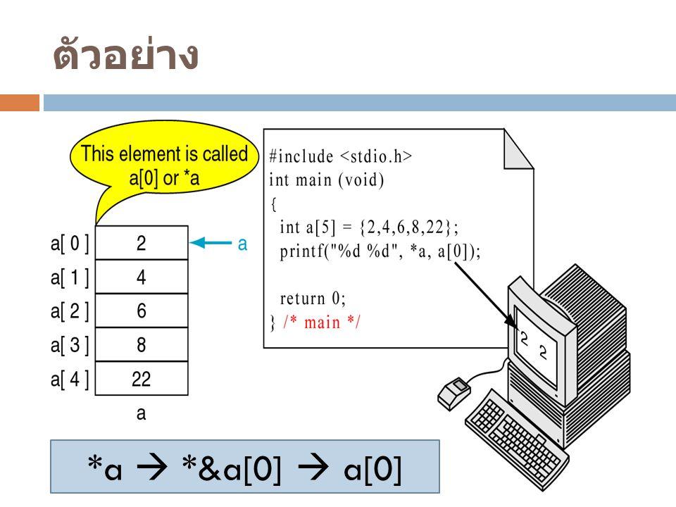 ตัวอย่าง *a  *&a[0]  a[0]