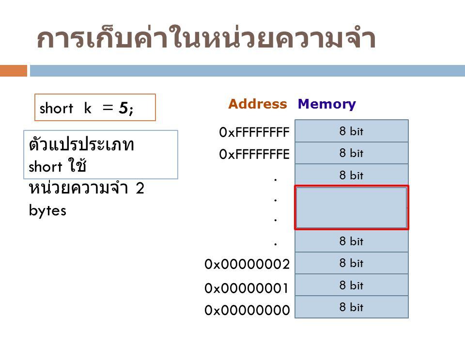 การเก็บค่าในหน่วยความจำ AddressMemory 8 bit 0x00000001 0x00000002 0xFFFFFFFF 0xFFFFFFFE... 8 bit 0x00000000. short k = 5; ตัวแปรประเภท short ใช้ หน่วย