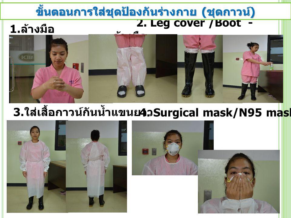 2. Leg cover /Boot - ล้างมือ 1. ล้างมือ 3. ใส่เสื้อกาวน์กันน้ำแขนยาว 4. Surgical mask/N95 mask ขั้นตอนการใส่ชุดป้องกันร่างกาย ( ชุดกาวน์ )