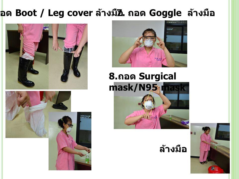 6. ถอด Boot / Leg cover ล้างมือ 7. ถอด Goggle ล้างมือ 8. ถอด Surgical mask/N95 mask ล้างมือ