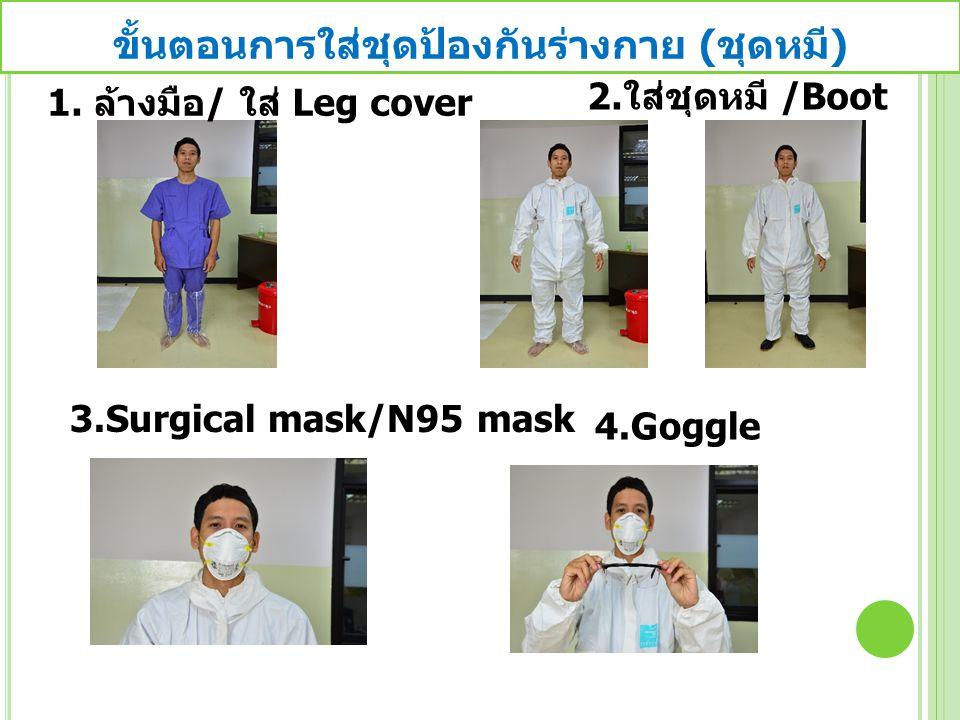 ขั้นตอนการใส่ชุดป้องกันร่างกาย ( ชุดหมี ) 1. ล้างมือ / ใส่ Leg cover 2. ใส่ชุดหมี /Boot 3.Surgical mask/N95 mask 4.Goggle