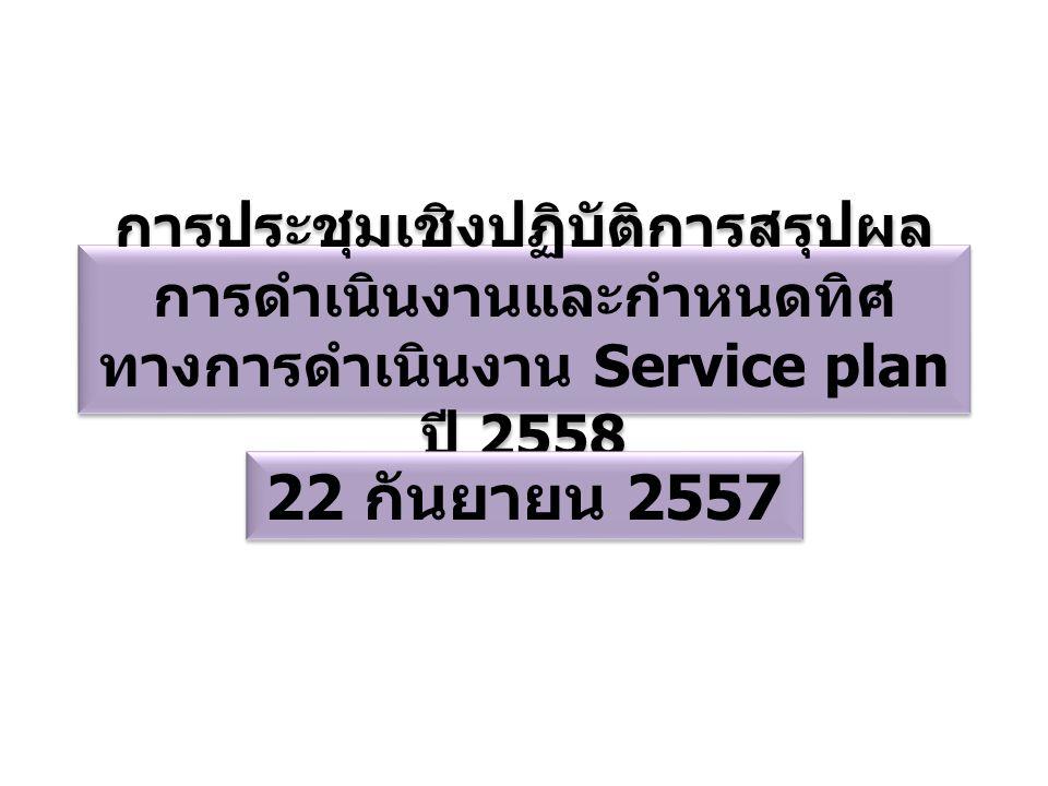การประชุมเชิงปฏิบัติการสรุปผล การดำเนินงานและกำหนดทิศ ทางการดำเนินงาน Service plan ปี 2558 22 กันยายน 2557