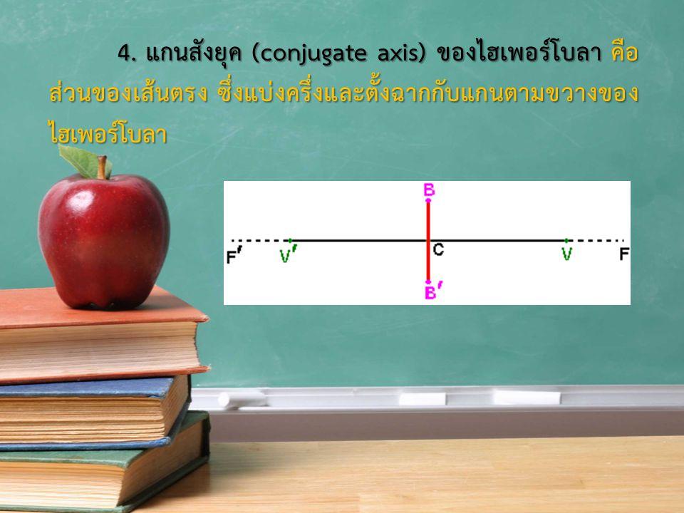 4. แกนสังยุค (conjugate axis) ของไฮเพอร์โบลา คือ ส่วนของเส้นตรง ซึ่งแบ่งครึ่งและตั้งฉากกับแกนตามขวางของ ไฮเพอร์โบลา 4. แกนสังยุค (conjugate axis) ของไ