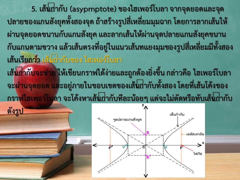 5. เส้นกำกับ (asypmptote) ของไฮเพอร์โบลา จากจุดยอดและจุด ปลายของแกนสังยุคทั้งสองจุด ถ้าสร้างรูปสี่เหลี่ยมมุมฉาก โดยการลากเส้นให้ ผ่านจุดยอดขนานกับแกนส