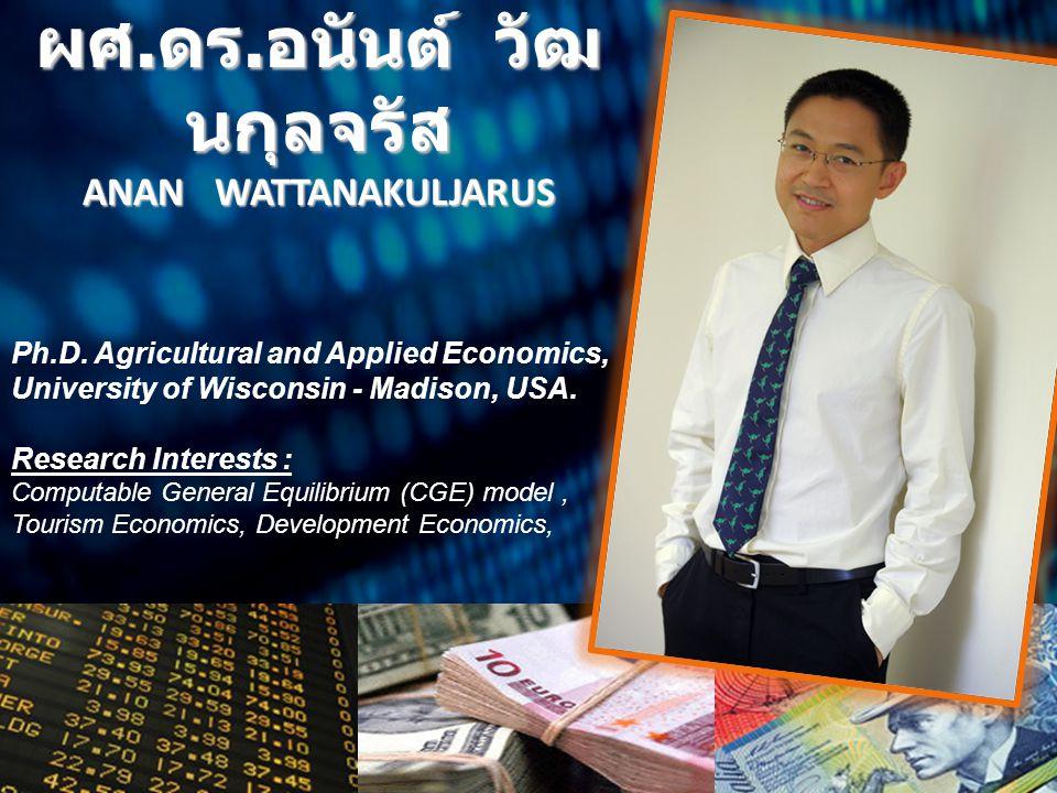 ผศ. ดร. อนันต์ วัฒ นกุลจรัส ANAN WATTANAKULJARUS Ph.D. Agricultural and Applied Economics, University of Wisconsin - Madison, USA. Research Interests