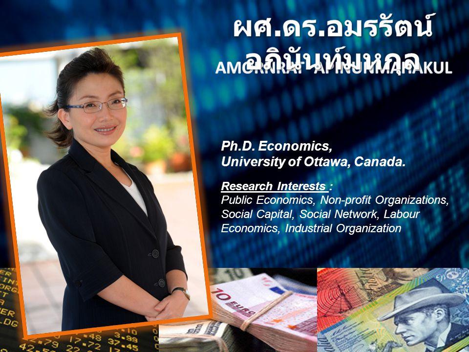 Ph.D. Economics, University of Ottawa, Canada. Research Interests : Public Economics, Non-profit Organizations, Social Capital, Social Network, Labour