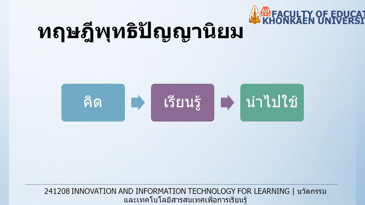 ทฤษฎีพุทธิปัญญานิยม KHONKAEN UNIVERSITY FACULTY OF EDUCATION 241208 INNOVATION AND INFORMATION TECHNOLOGY FOR LEARNING | นวัตกรรม และเทคโนโลยีสารสนเทศ