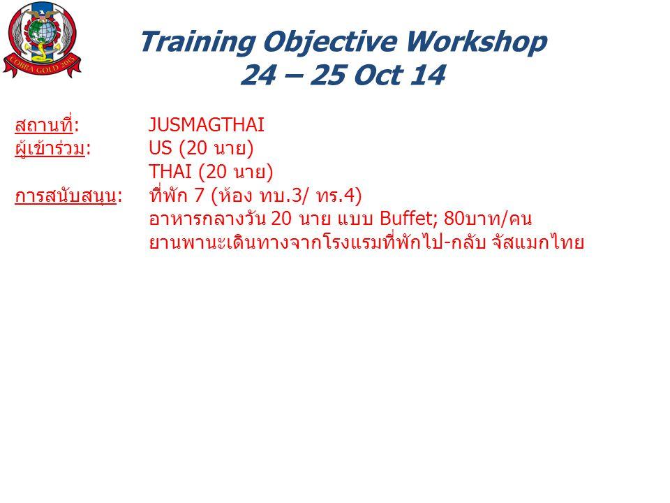 Training Objective Workshop 24 – 25 Oct 14 สถานที่: JUSMAGTHAI ผู้เข้าร่วม: US (20 นาย) THAI (20 นาย) การสนับสนุน: ที่พัก 7 (ห้อง ทบ.3/ ทร.4) อาหารกลางวัน 20 นาย แบบ Buffet; 80บาท/คน ยานพานะเดินทางจากโรงแรมที่พักไป-กลับ จัสแมกไทย