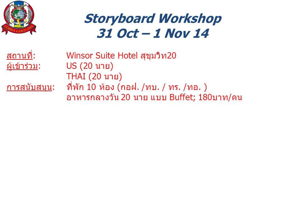Storyboard Workshop 31 Oct – 1 Nov 14 สถานที่: Winsor Suite Hotel สุขุมวิท20 ผู้เข้าร่วม: US (20 นาย) THAI (20 นาย) การสนับสนุน: ที่พัก 10 ห้อง (กอฝ.