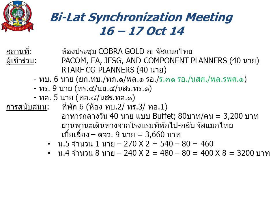 Bi-Lat Synchronization Meeting 16 – 17 Oct 14 สถานที่: ห้องประชุม COBRA GOLD ณ จัสแมกไทย ผู้เข้าร่วม: PACOM, EA, JESG, AND COMPONENT PLANNERS (40 นาย) RTARF CG PLANNERS (40 นาย) - ทบ.